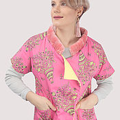 Одежда handmade. Livemaster - original item Pink yellow insulated vest with fur. Handmade.