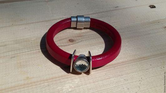 Браслеты ручной работы. Ярмарка Мастеров - ручная работа. Купить Кожаный браслет Regaliz красный Во всем блеске. Handmade.