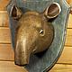 Интерьерные  маски ручной работы. Голова тапира на стену. 500 эскимо. Ярмарка Мастеров. Украшение на стену, головы животных
