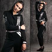 Одежда handmade. Livemaster - original item Black women`s jumpsuit with Hood, Casual Soft Cotton Jumpsuit. Handmade.