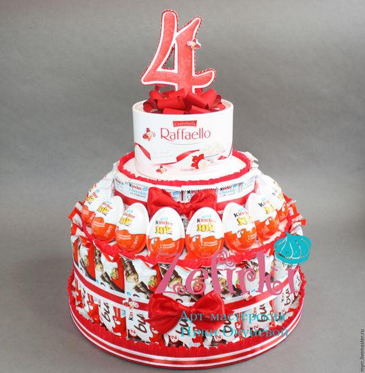 Кулинарные сувениры ручной работы. Ярмарка Мастеров - ручная работа. Купить Торт из киндеров в школу садик на выпускной день рождения 4 года. Handmade.