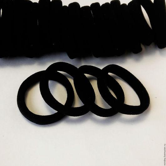 Для украшений ручной работы. Ярмарка Мастеров - ручная работа. Купить Резинки для волос черные 4 см. Handmade.