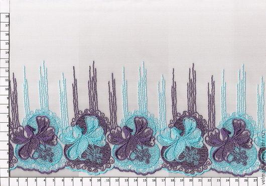 Аппликации, вставки, отделка ручной работы. Ярмарка Мастеров - ручная работа. Купить Кружево на сетке Арт.16006 голубой-фиолет 20 см. Handmade.