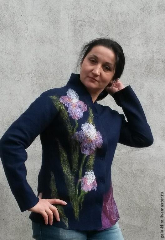 Felted jacket 'Irises', Klimkin Galina, Suit Jackets, Losino-Petrovsky,  Фото №1