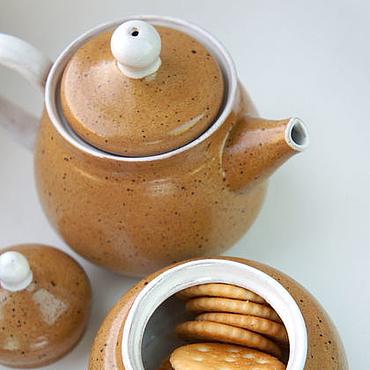 """Посуда ручной работы. Ярмарка Мастеров - ручная работа Керамический чайник  """"Медовые соты"""". Handmade."""