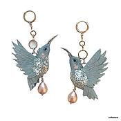 Украшения handmade. Livemaster - original item Grey Hummingbird earrings.Bird earrings. Handmade.