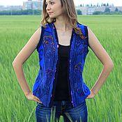 """Одежда ручной работы. Ярмарка Мастеров - ручная работа Валяно-вязаный жилет """"Синие грёзы"""". Handmade."""