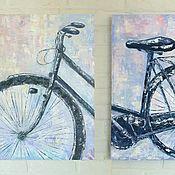 Картины и панно handmade. Livemaster - original item Modular oil painting Bicycle. Handmade.