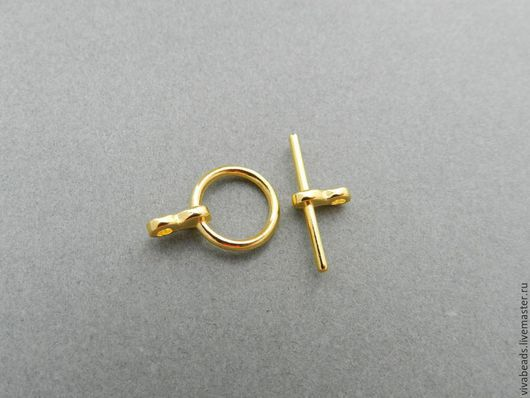 Замок застежка для украшений тоггл под античное золото, размер длинной части 19*3 мм (с учетом крепления), застежка (круглая часть) 12 мм (арт. 1707)