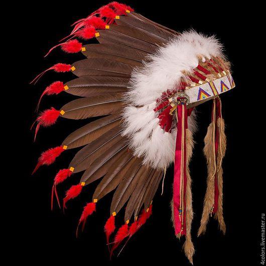 """Ролевые игры ручной работы. Ярмарка Мастеров - ручная работа. Купить Индейский головной убор из перьев """"Rainbow Warrior"""". Handmade."""