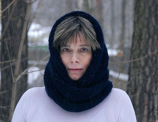 """Шали, палантины ручной работы. Ярмарка Мастеров - ручная работа. Купить Снуд-шарф темно-синий  """"Черное море"""" (шерсть). Handmade."""