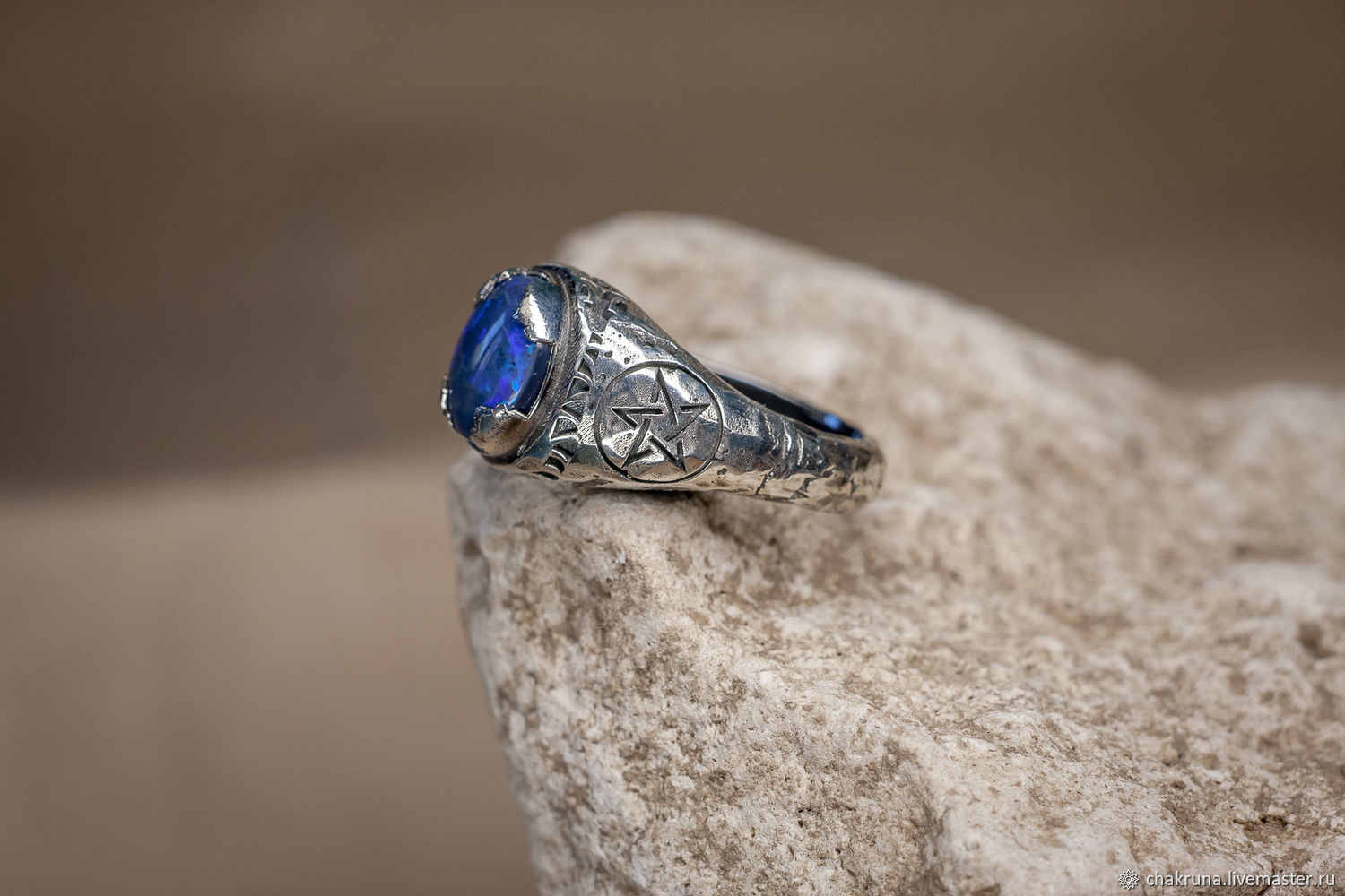 Men's ring with a pentagram and black opal ' Fafnir', Rings, Moscow,  Фото №1