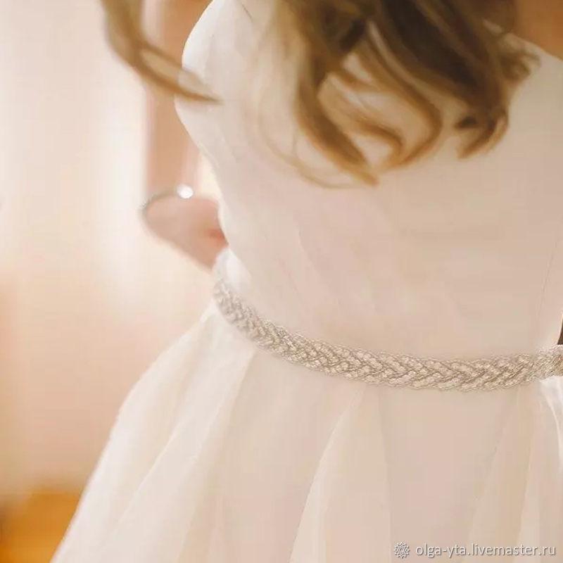 Пояс: свадебный вечерний со стразами на ленте, Пояса, Москва,  Фото №1