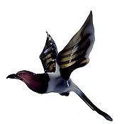 Для дома и интерьера ручной работы. Ярмарка Мастеров - ручная работа Интерьерное подвесное украшение из цветного стекла птица Сорока Potin. Handmade.