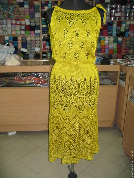 Платья ручной работы. Ярмарка Мастеров - ручная работа. Купить Ажурное вязаное платье спицами. Handmade. Ажурное платье