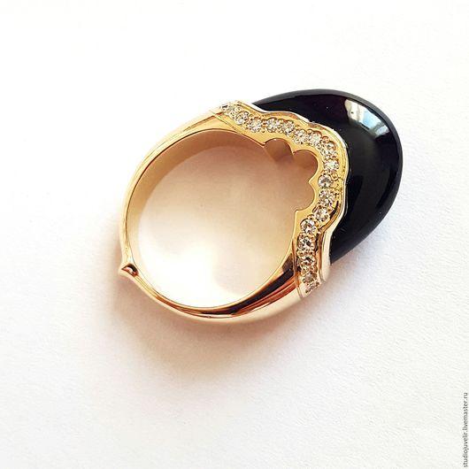 Кольца ручной работы. Ярмарка Мастеров - ручная работа. Купить Кольцо с агатом и бриллиантами золотое. Handmade. Черный, кольцо с агатом