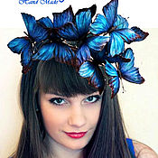 """Украшения ручной работы. Ярмарка Мастеров - ручная работа Ободок """" бабочки"""" шелк синий. Handmade."""