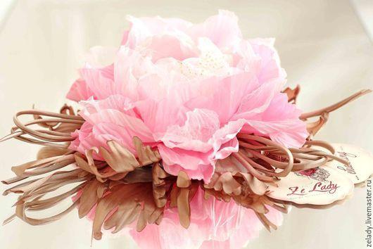 """Цветы ручной работы. Ярмарка Мастеров - ручная работа. Купить Пион из ткани """"Розовая дымка"""". Handmade. Цветы из ткани, большой, нежный"""