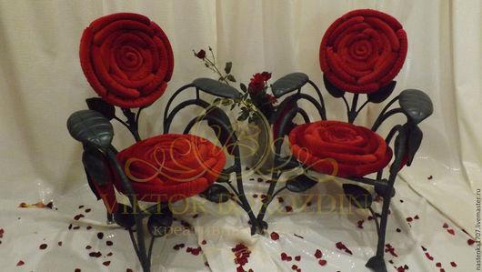 Мебель ручной работы. Ярмарка Мастеров - ручная работа. Купить кресло роза. Handmade. Ярко-красный, эксклюзивная мебель, синтепон