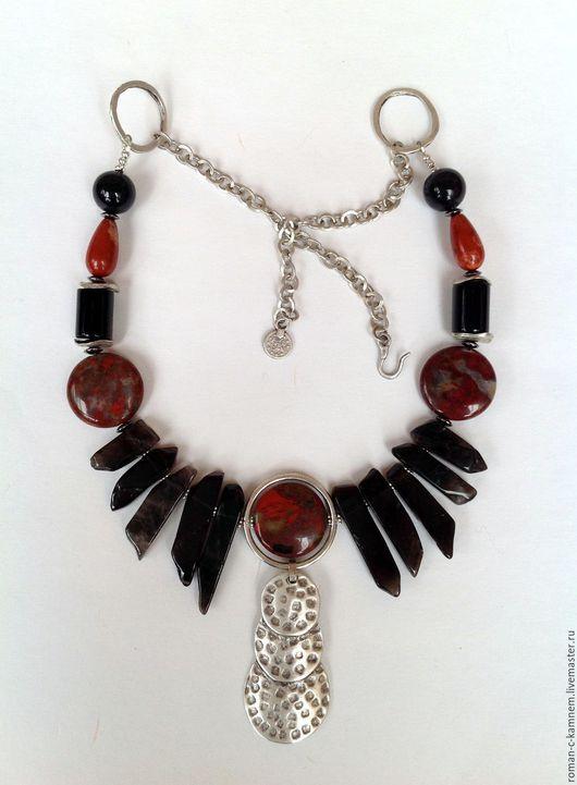 Колье, бусы этнические из натуральных камней в африканском стиле Черный континент. Оригинальный подарок для стильных, смелых и независимых женщин и девушек.