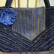 Сумки и аксессуары handmade. Livemaster - original item Denim bag double-sided in Boho style with felt flower brooch. Handmade.