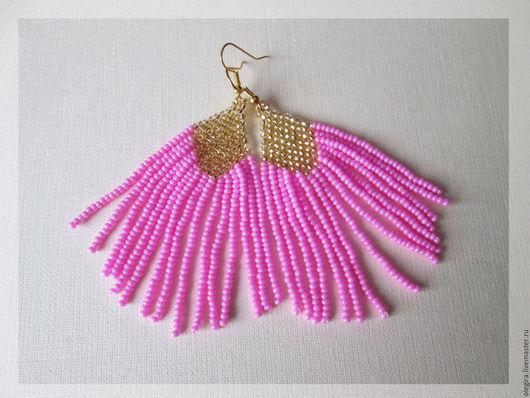 Серьги ручной работы. Ярмарка Мастеров - ручная работа. Купить Розовые серьги из бисера. Handmade. Розовый, серьги из бисера, мода