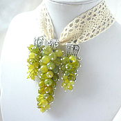 Украшения handmade. Livemaster - original item Summer Pendant - Pendant and Earrings Olive jade Grape bunch. Handmade.