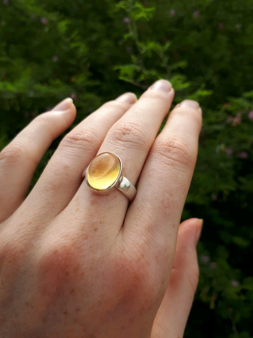 SOLAR ring with transparent shining citrine, Rings, Moscow,  Фото №1