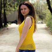 Одежда ручной работы. Ярмарка Мастеров - ручная работа Вязаный желтый топ летняя вязаная кофточка  свитшот вязаный из хлопка. Handmade.