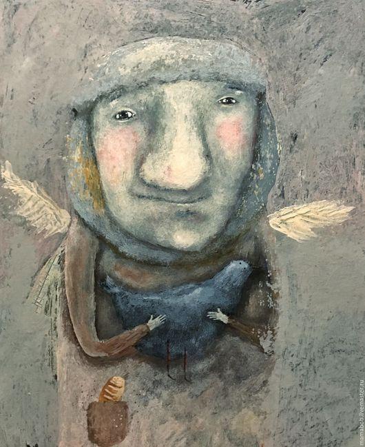 Люди, ручной работы. Ярмарка Мастеров - ручная работа. Купить Зимние голуби. Handmade. Комбинированный, мальчик, голубь, картина, подарок