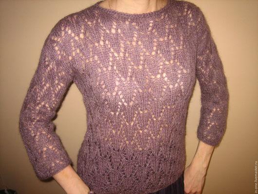 Кофты и свитера ручной работы. Ярмарка Мастеров - ручная работа. Купить ажурный пуловер туман. Handmade. Сиреневый, пуловер ажурный