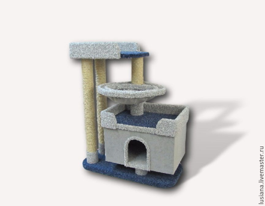 House for cats can be made according to individual dimensions and in the right color. The complex can be done in mirror reflection. The complex is perfect for large cats and kittens.