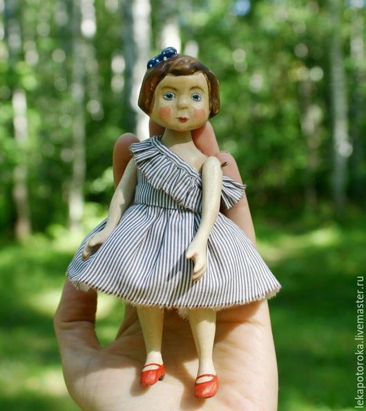 Коллекционные куклы ручной работы. Ярмарка Мастеров - ручная работа. Купить Деревянная кукла малышка Таисия. Handmade. Коричневый