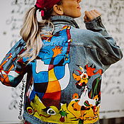 Одежда handmade. Livemaster - original item Denim jacket with Miro print. Painting on fabric. Handmade.