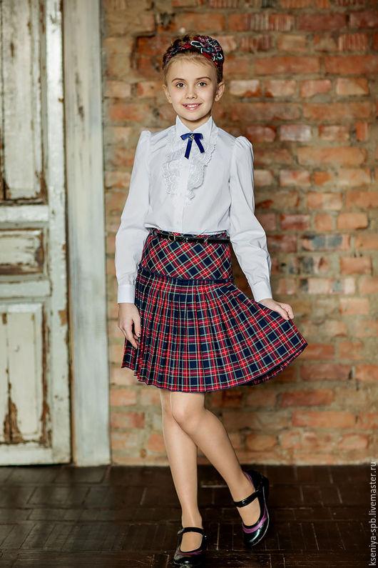 Одежда для девочек, ручной работы. Ярмарка Мастеров - ручная работа. Купить Юбка в клетку шотландка, сине-красная (Арт. 20). Handmade.