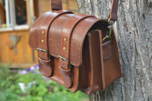 Мужские сумки ручной работы. Ярмарка Мастеров - ручная работа. Купить Мужская сумка 18х23 см. Натуральная кожа. 100% ручная работа. Handmade.