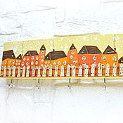 Для дома и интерьера handmade. Livemaster - original item Housekeeper-hanger with hand-painted Orange houses. Handmade.