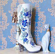 """Обувь ручной работы. Ярмарка Мастеров - ручная работа Сапоги """"Гжель"""". Handmade."""