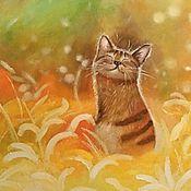Картины ручной работы. Ярмарка Мастеров - ручная работа Солнечный котик. Handmade.
