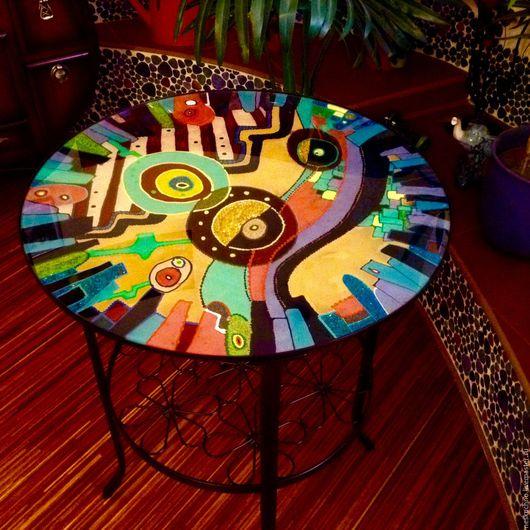 Мебель ручной работы. Ярмарка Мастеров - ручная работа. Купить Кофейный столик  Барселона. Handmade. Яркий, абстрактный рисунок, столик