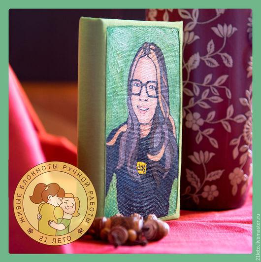 Блокноты ручной работы. Ярмарка Мастеров - ручная работа. Купить Блокнот с портретом на обложке. Handmade. Зеленый, подарок, подарок подруге