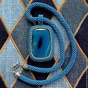 """Украшения ручной работы. Ярмарка Мастеров - ручная работа Кулон """"Джинс"""" с синим агатом. Handmade."""