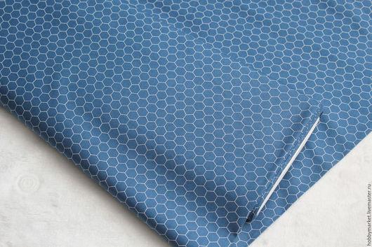 Шитье ручной работы. Ярмарка Мастеров - ручная работа. Купить Ткань хлопок Соты (синие). Handmade. Ткань для творчества, шитье