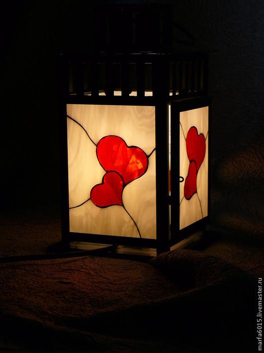 """Освещение ручной работы. Ярмарка Мастеров - ручная работа. Купить """"Любовь"""" фонарь - светильник. Handmade. Ярко-красный, ночник, дача"""