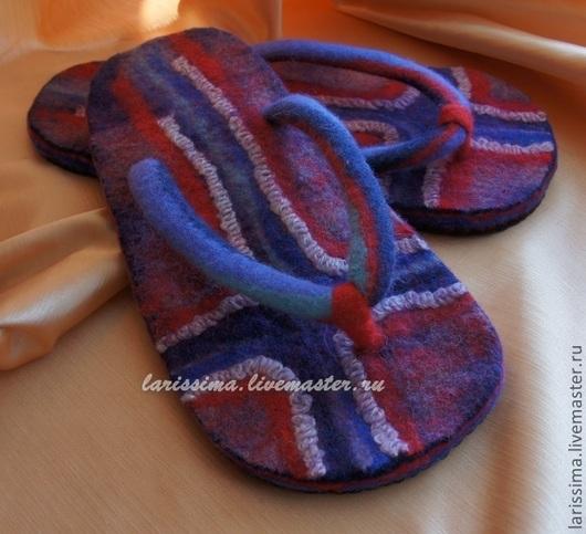 Обувь ручной работы. Ярмарка Мастеров - ручная работа. Купить Сланцы Мужские. Handmade. Тёмно-синий, сланцы, тапки валяные