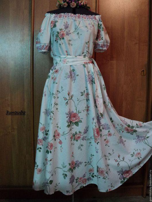 """Платья ручной работы. Ярмарка Мастеров - ручная работа. Купить Платье """"Цветочный хоровод"""". Handmade. Бледно-розовый, платье"""