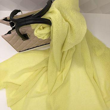 Аксессуары ручной работы. Ярмарка Мастеров - ручная работа Палантин кашемир на шелке лимонный. Handmade.