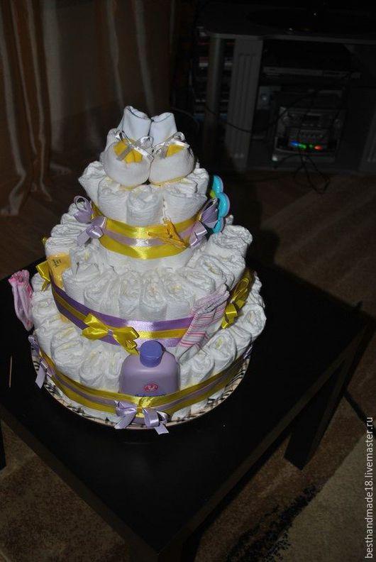Подарки для новорожденных, ручной работы. Ярмарка Мастеров - ручная работа. Купить Торт из памперсов. Handmade. Сиреневый, торт, мыло
