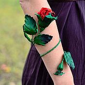 Украшения handmade. Livemaster - original item Bracelet leather Magic rose Flowers leather. Handmade.