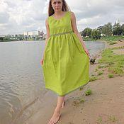 "Одежда handmade. Livemaster - original item Green linen summer dress ""Peasant girl"". Handmade."
